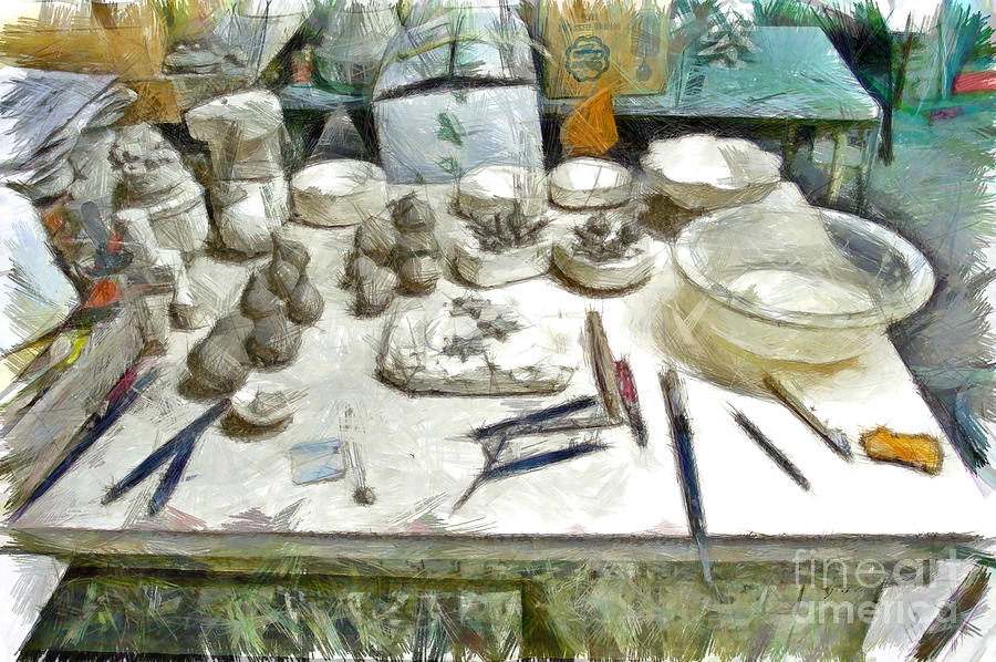 Pencil Digital Art - Ceramic Objects And Brushes On The Table by Giuseppe Cocco