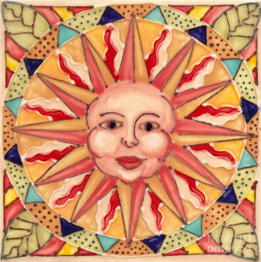 Sun Painting - Ceramic Sun by Anna Skaradzinska