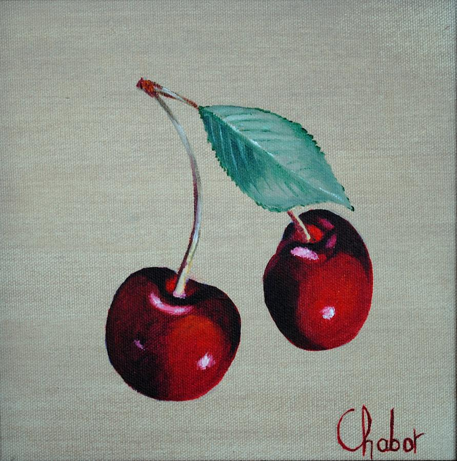 Fruits Painting - Cerises by Veronique Chabot