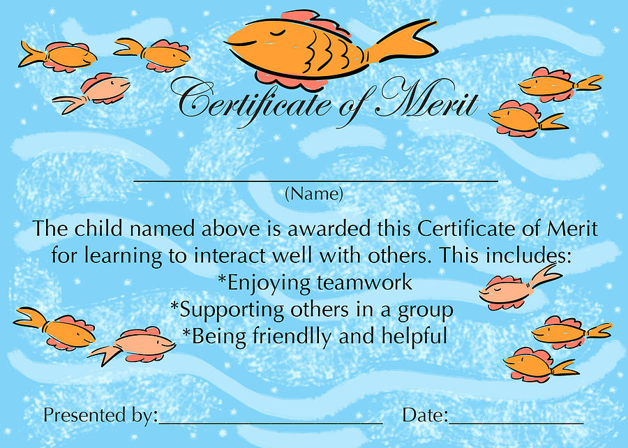 Fish Painting   Certificate Of Merit For Cooperation By Sally Huss  Merit Certificate Comments
