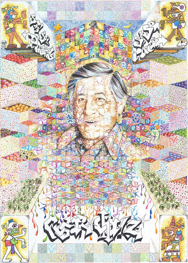 Cesar Chavez Drawing - Cesar Chavez- Sombra de Arreguin by Doug Johnson