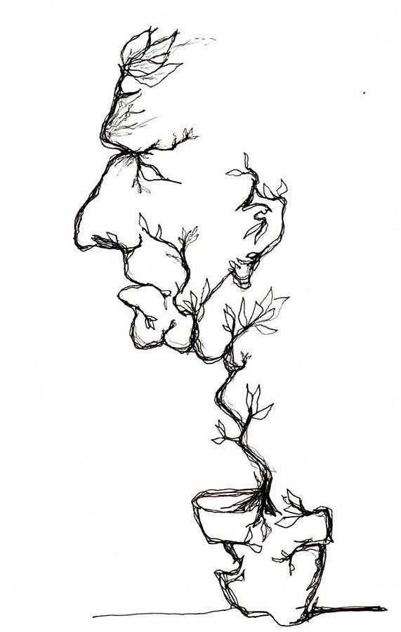 Cesar Drawing - Cesar Salad-Cracked Pots by Doug Johnson