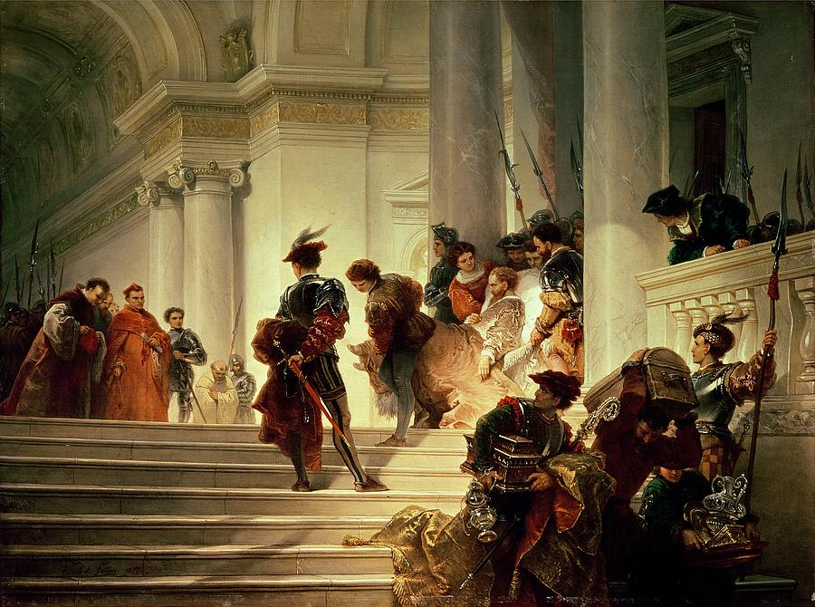 Cesare Painting - Cesare Borgia Leaving The Vatican by Giuseppe Lorenzo Gatteri