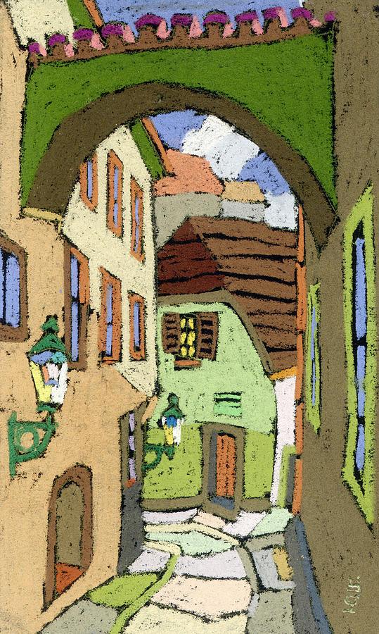 Pastel Painting - Cesky Krumlov Masna Street by Yuriy Shevchuk