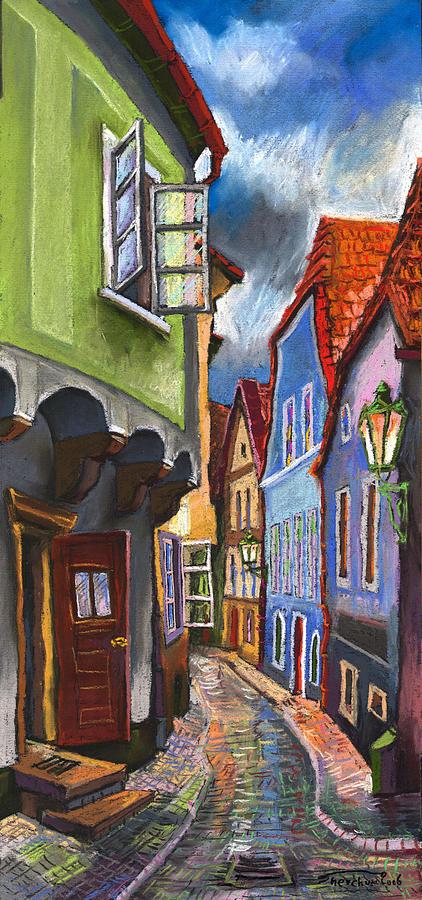 Cesky Krumlov Old Street 1 Painting by Yuriy Shevchuk