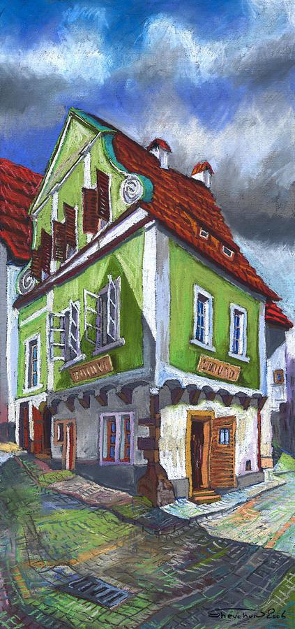 Pastel Chesky Krumlov Old Street Cityscape Realism Architectur Painting - Cesky Krumlov Old Street 3 by Yuriy  Shevchuk