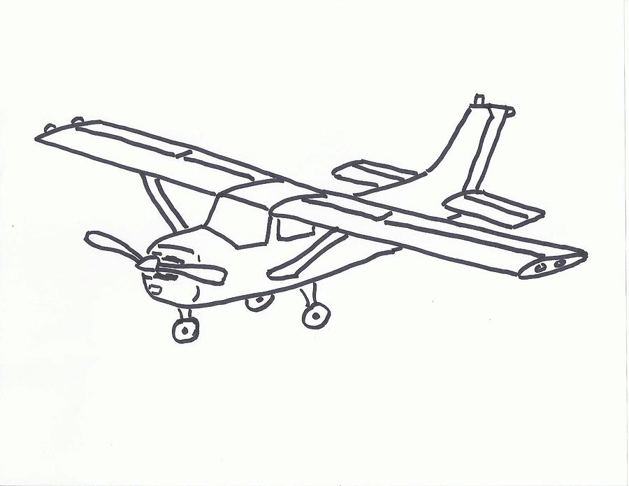 cessna 172 outline drawing by valerie salven