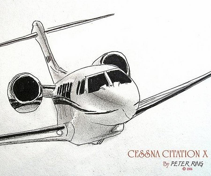 Citation Painting - Cessna Citation 750x N200AP by Peter Ring Sr