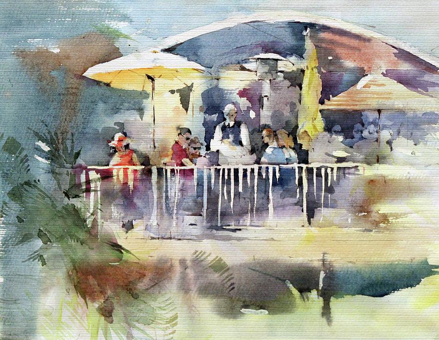 Cafe Painting - Cest La Vie Restaurant - Laguna Beach - California by Natalia Eremeyeva Duarte
