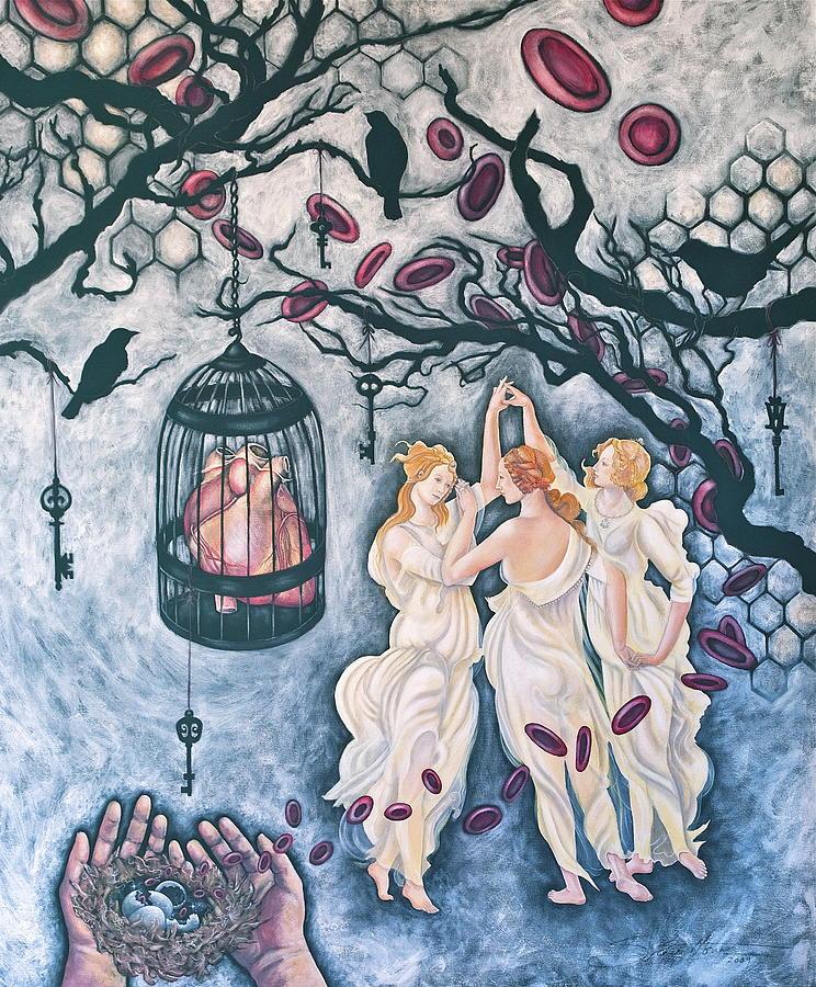 Three Graces Painting - Cette Vie Est Sacree by Sheri Howe