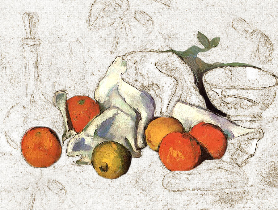 Still Life Digital Art - Cezanne Oranges Digital Art by Karla Beatty