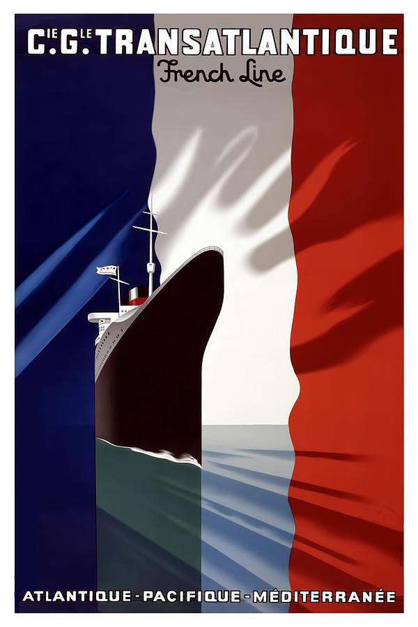 Vintage Travel Poster Digital Art - C.g. Transatlantique Vintage Travel Poster by Tom Prendergast