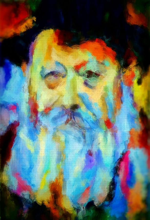 Chabad Painting - Chabad Lubavitch Rebbe Colorful Bright Acrylic Painting Menachem Schneerson Rabbi Crown Heights Rainbow by MendyZ