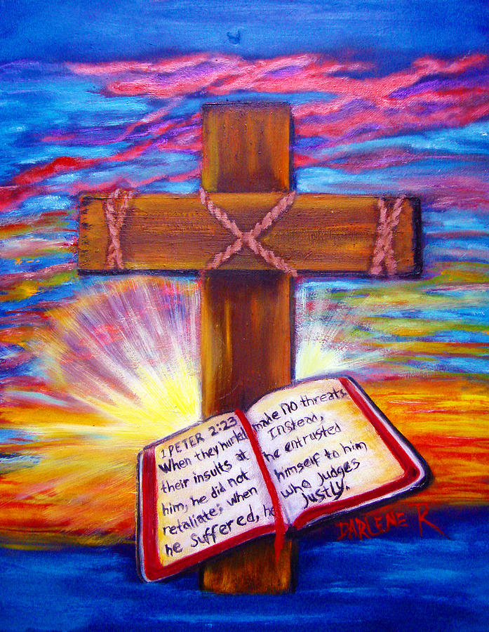 Chads cross painting by darlene green for Cross paintings on canvas