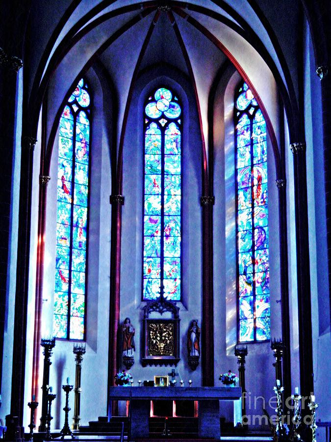 Glass Photograph - Chagall Windows In St Stephens Church 1   by Sarah Loft