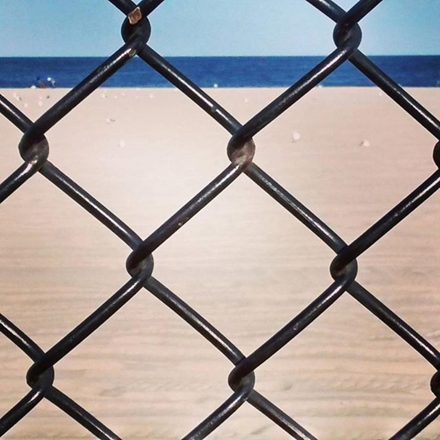Fence Photograph - Chain Fence At The Beach by Colleen Kammerer
