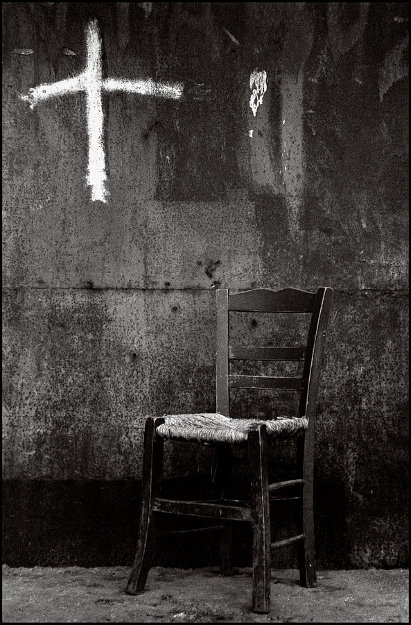 Still Life Photograph - Chair And Cross Chania Crete by Werner Hammerstingl