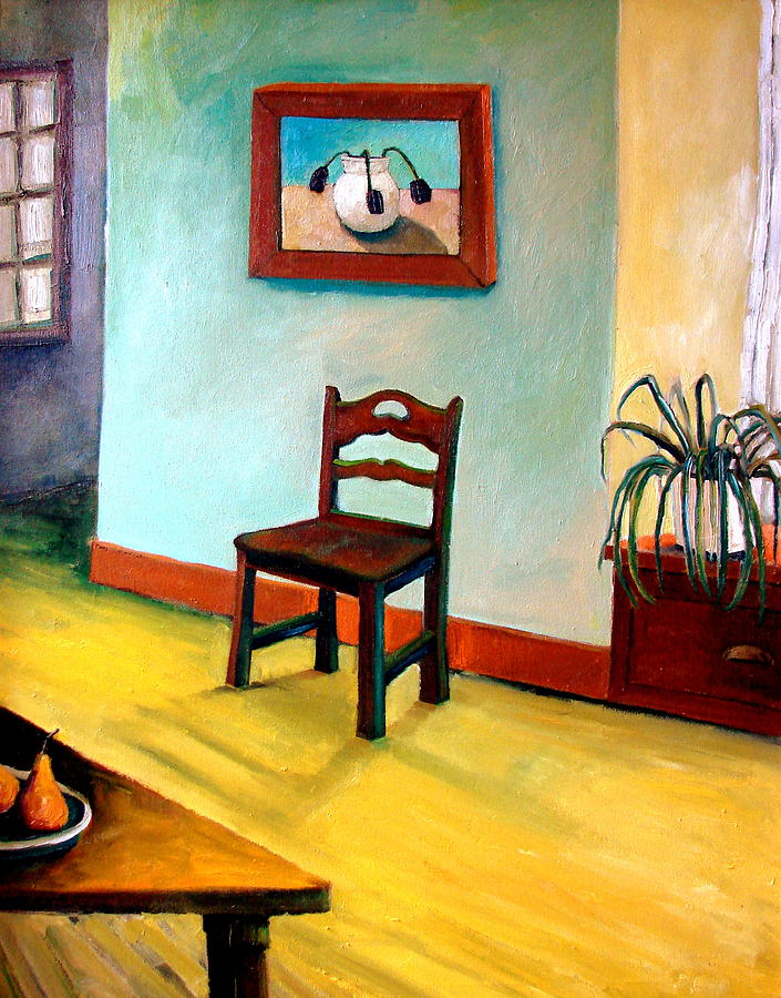 Chair And Pears Interior Painting by Michelle Calkins