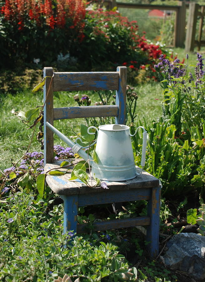 Nature Photograph - Chair And Watering Can by William Thomas