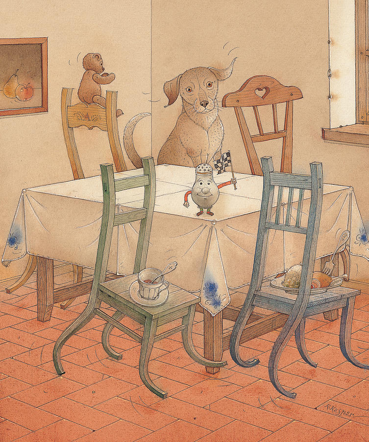 Chair Race Painting by Kestutis Kasparavicius