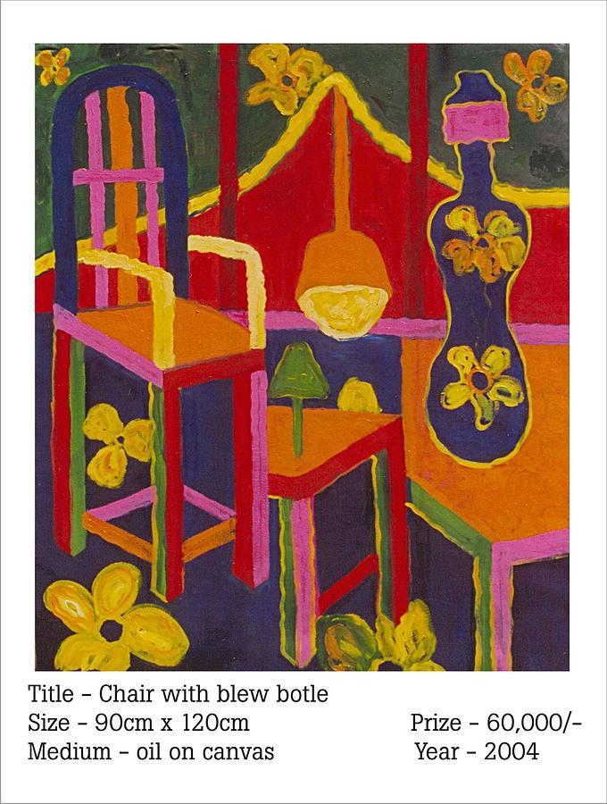 Chair With Blew Botle Painting by Phoolsingh Bairwa