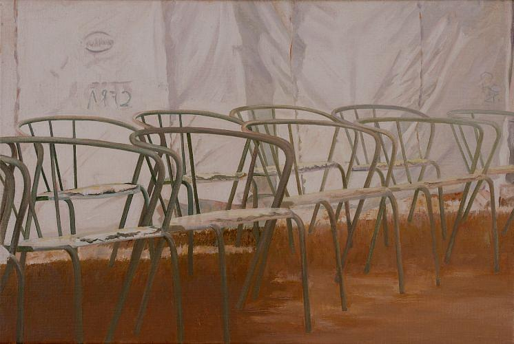 Chairs In A Row  Painting by Leone Holzhaus