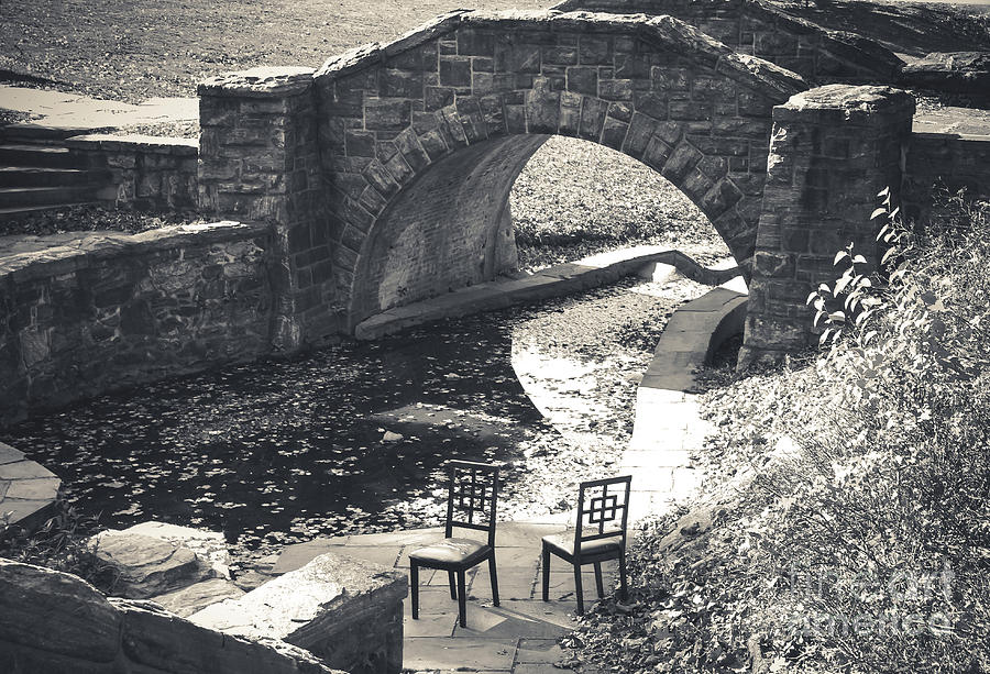 Chairs Photograph - Chairs - Stone Bridge by Colleen Kammerer
