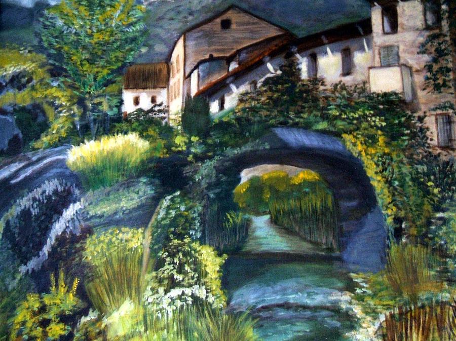 Landscape Painting - Chalet by Claudia Lamprea