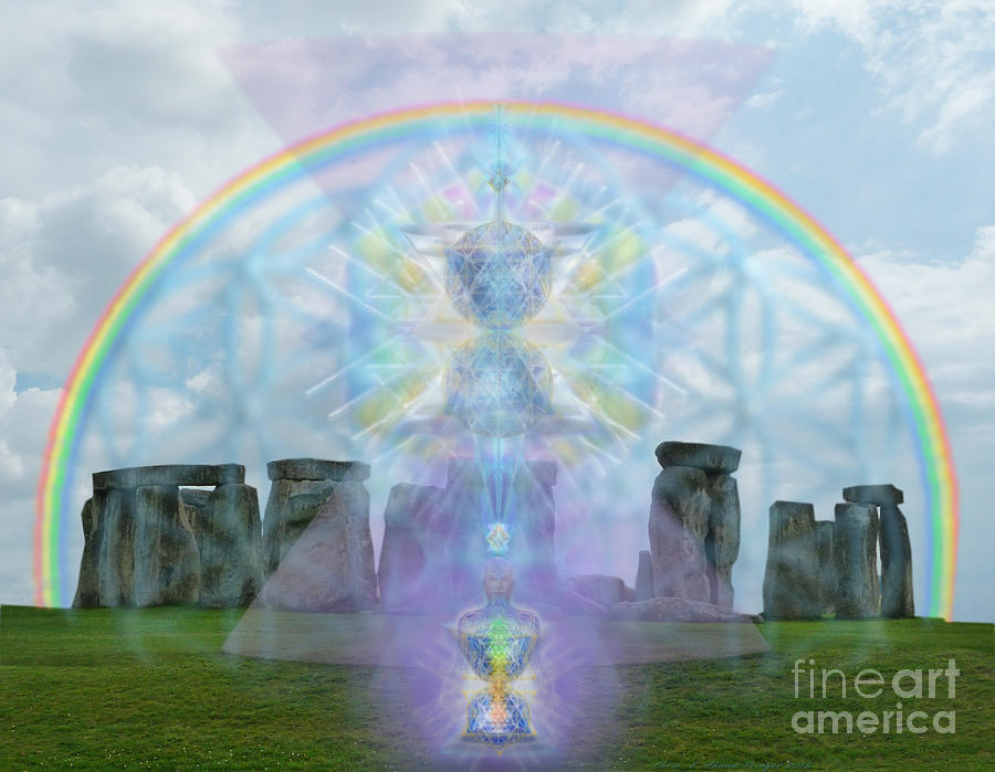 Stonehenge Digital Art - Chalice Over Stonehenge In Flower Of Life And Man by Christopher Pringer