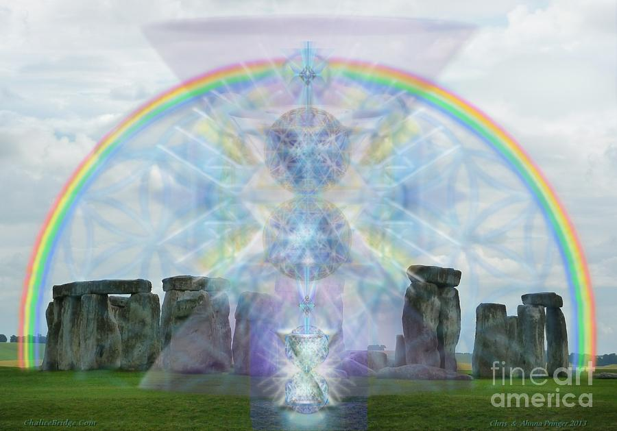 Stonehenge Digital Art - Chalice Over Stonehenge In Flower Of Life by Christopher Pringer
