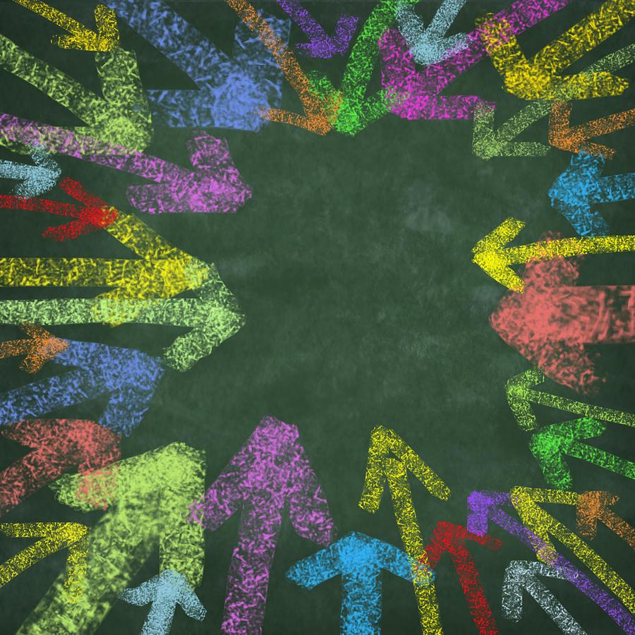 Arrow Photograph - Chalk Drawing Colorful Arrows by Setsiri Silapasuwanchai