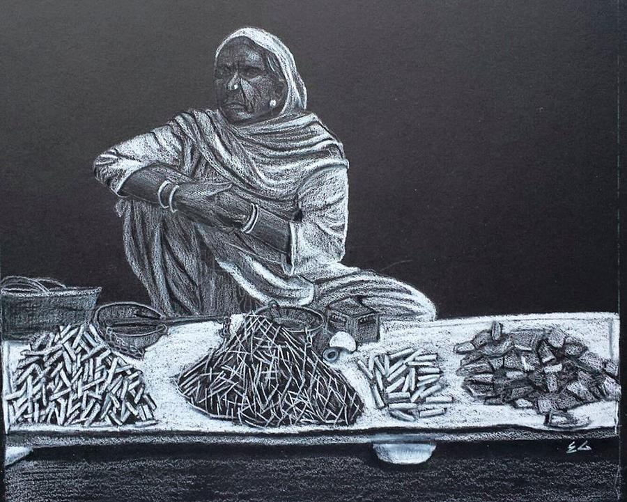 Women Painting - Chalk Seller by Ekta Gupta