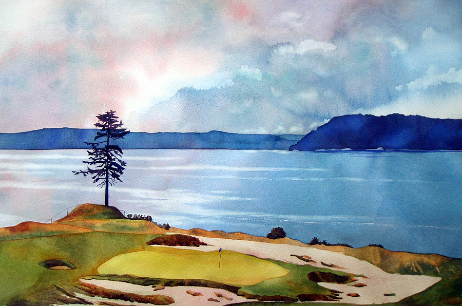 Transparent Watercolor Painting - Chambers Bay 15th Hole by Scott Mulholland