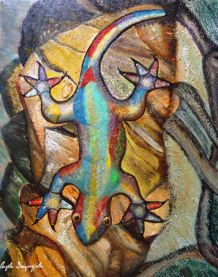 Chameleon Painting - Chameleon by Angelo Ingargiola
