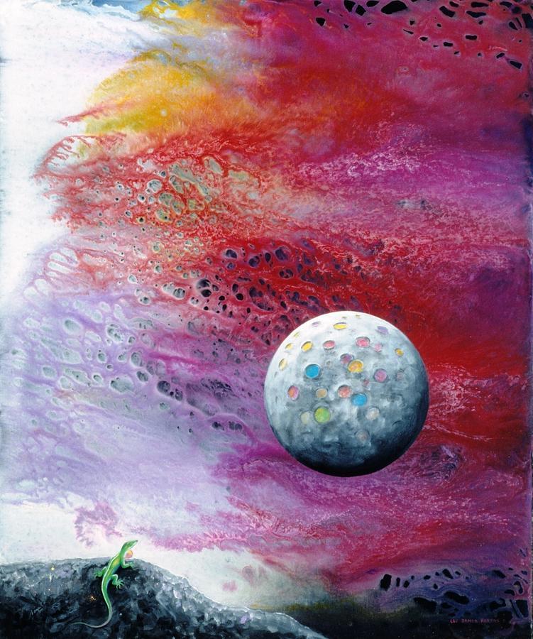 Spiritual Painting - Chameleon Moon by Lee Pantas