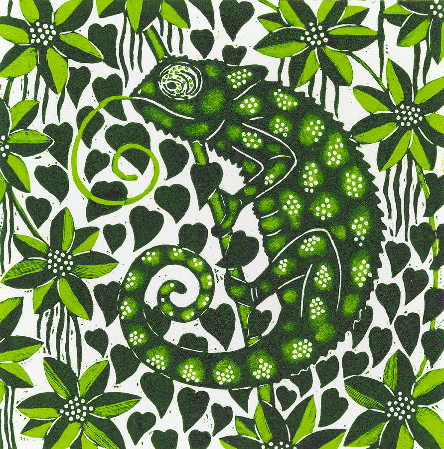 Chameleon Painting - Chameleon by Nat Morley
