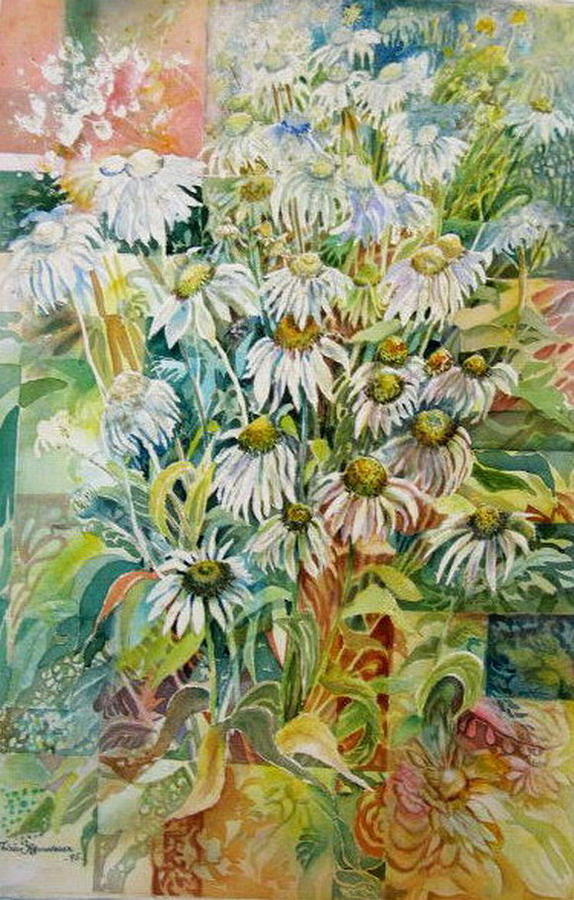 White Painting - Chamomile by Therese AbouNader