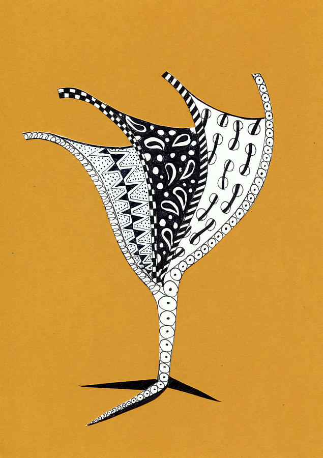 Zentangle Drawing - Champagne by Bev Donohoe