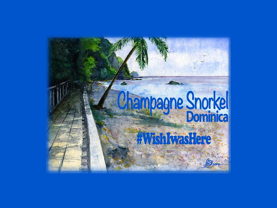 Watercolor Painting - Champagne Snorkel Dominica Shirt by John D Benson