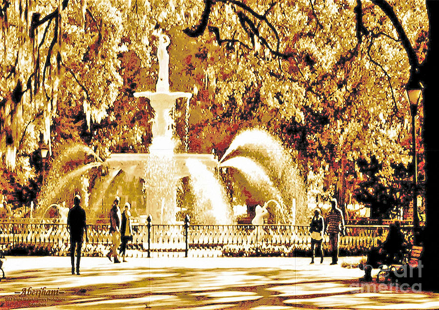 Savannah Historic District Digital Art - Champagne Twilight Forsyth Park Fountain In Savannah Georgia Usa  by Aberjhani
