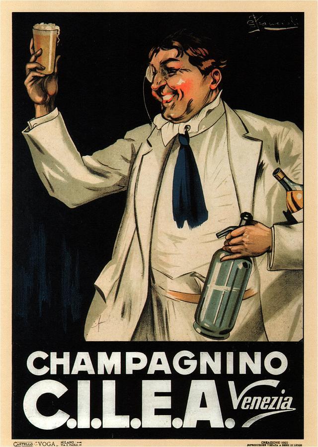 Champagnino C.i.l.e.a - Italian Food And Drink - Venezia - Vintage Advertising Poster Mixed Media