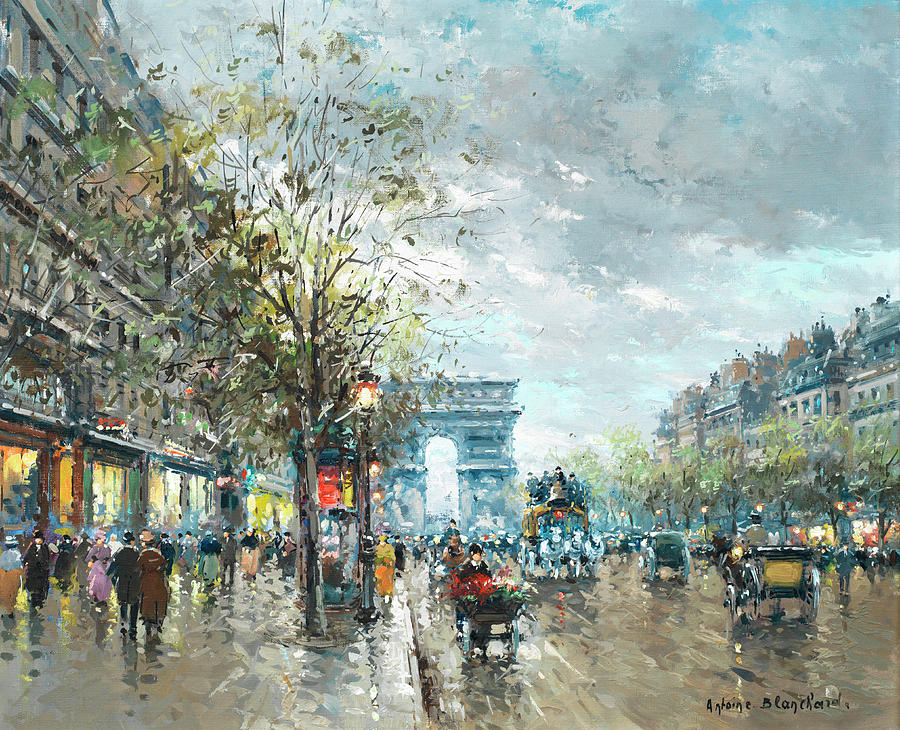 Champs Painting - Champs Elysees Avenue, Paris by Antoine Blanchard
