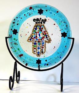 Chamsa  Glass Art by Bobbie Matus