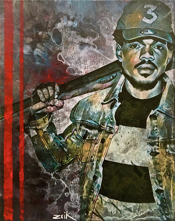 Chance The Rapper Painting - Chance The Baseball Fury by Bobby Zeik