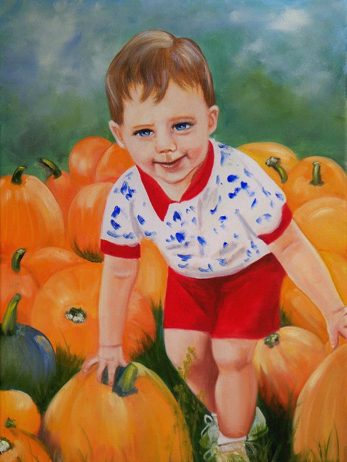 Portrait Painting - Chance With The Pumpkins by Joni McPherson