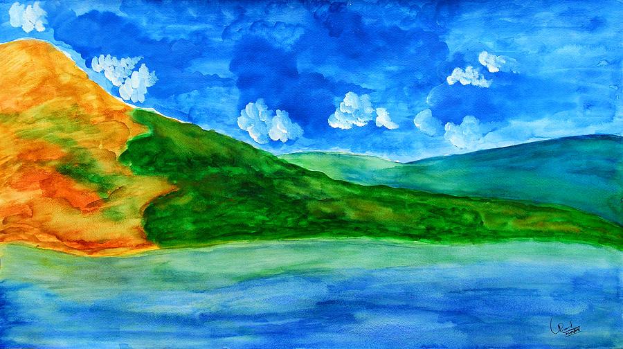 Landscape Painting - Chandravalli Lake by Prasad Setty