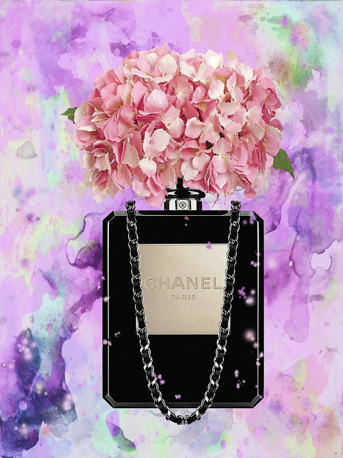 1ff693e36ba3 chanel bag perfume with Pink hydragenia Painting by Del Art