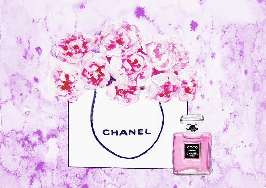 f6ef6b351285 Chanel Bag Painting - Chanel Bag With Flower by Del Art