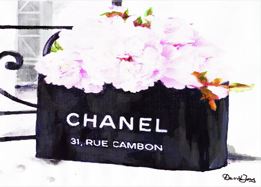 Chanel Bag Painting - Chanel Bag With Peony  by Del Art