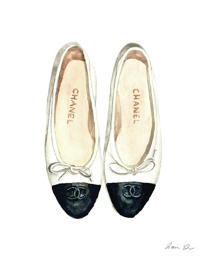 Chanel Ballet Flats Classic Watercolor Fashion Illustration Coco
